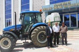 Karaman Ziraat Odasından köylere kükürt atma makinası desteği