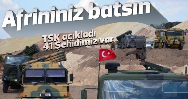Afrin operasyonunda toplam 41 askerimiz şehit oldu.