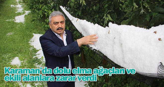 Karaman'da dolu elma ağaçları ve ekili alanlara zarar verdi