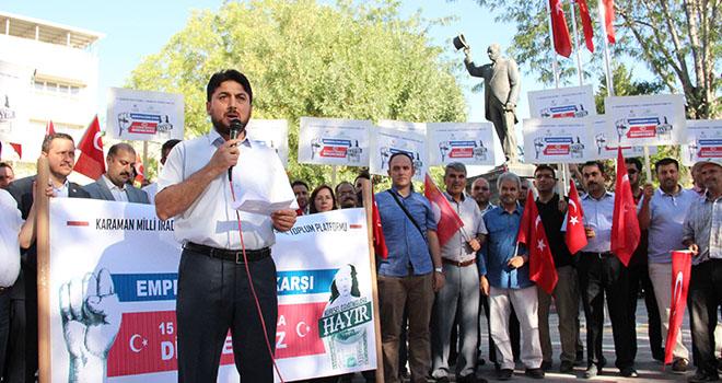 Karaman'da STK'lar, ABD'nin yaptırımlarını protesto etti