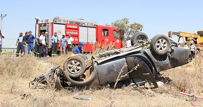 Tatilden dönen ailenin bulunduğu kamyonet takla attı: 1 ölü, 3 yaralı